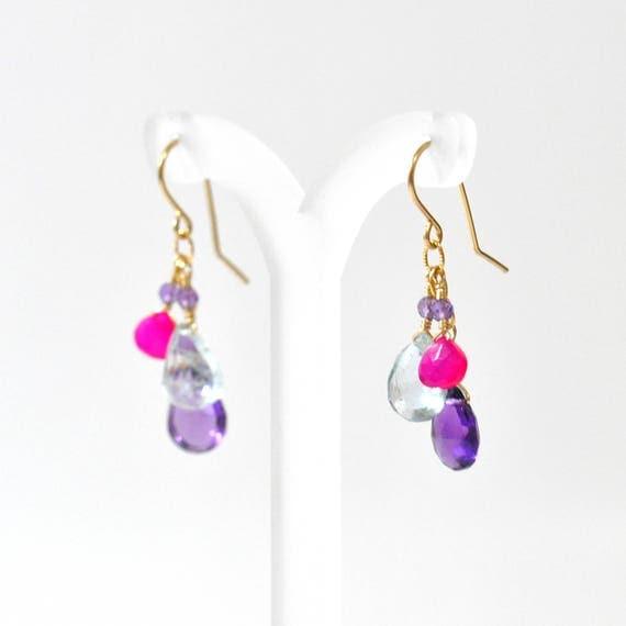 Pink Chalcedony, Amethyst, Aquamarine Earrings, Bright Pink Stone earrings, Fuschia Pink stone Earrings,  Pink stone Gold  earrings,
