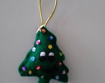 "Handmade Felt and Sequin SMILEY TREE Ornament 3""hx 2 1/2""w"