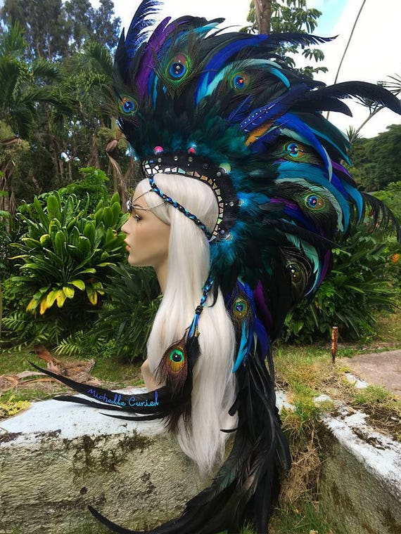 "Made to order: ""Mahina"" Customizable Unicorn Feather Mohawk / Headdress; festivals, burning man, raves, Carnivale, costume, cosplay"