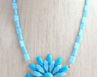 Blue Necklace, Flower Necklace, Something Blue, Daisy Necklace, Recycled Jewelry, Recycled Necklace, Upcycled Jewelry, Upcycled Necklace