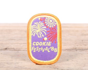 Vintage Girl Scout Patch / 1988 Cookie Festival Patch / Girl Scout Patch / Boy Scout Patch / Frog Grunge Patch