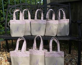 Bridesmaid bachelorette tote bag gray wisteria purple mauve plum