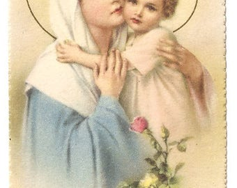 Madonna & Child Virgin Mary and Baby Jesus with Pink Roses, Vintage Italian Holy Prayer Card, Christian Catholic