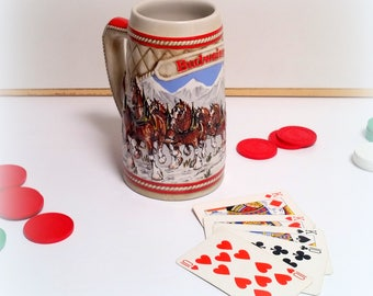 """BUDWEISER Limited 1985 Edition Beer Stein - """"A"""" Series - World Famous Clydesdales - Ceramarte - Vintage Collectible Bar Ware"""