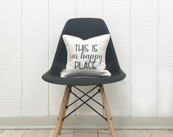 "12"" This Is Our Happy Place Pillow - 2nd Anniversary Gift - Housewarming Gift - Cotton Duck Canvas - Insert Included"