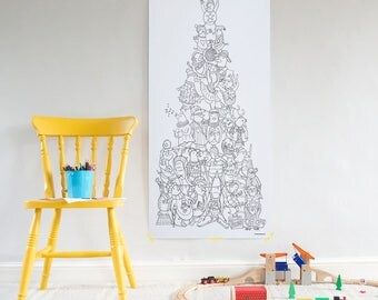 Giant Christmas colouring poster - penguin tower christmas tree! Unique, detailed poster to keep kids busy. Great Christmas tree alternative