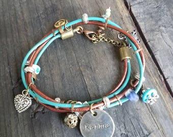 Turquoise Bracelet Leather Charm Bracelet Karma Bracelet Charm Bracelet Southwestern Boho Bracelet Heart Wrap Bracelet Mixed Metal OOAK