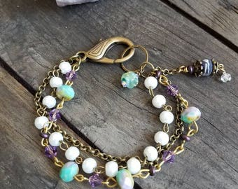 Purple Bracelet Triple Strand Beaded Bracelet Pearl Bracelet Crystal Bracelet Teal Bracelet Chain Bracelet Boho Paris Flea Market Rustic