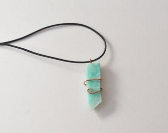 Raw Amazonite Necklace, Raw Stone Necklace, Sea Blue Stone, Amazonite, Copper Wrapped Amazonite, Rough Amazonite, Cord and Stone, Unisex