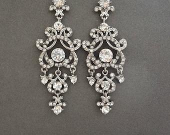 """Long chandelier earrings, Art Deco, Crystal statement earrings, 3"""",Wedding earrings -Brides statement earrings-Crystal earrings,ANGELINA"""