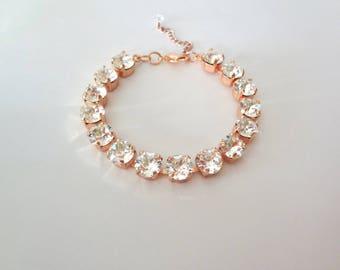 Rose gold crystal Bracelet, Crystal wedding bracelet, Brides bracelet,Swarovski crystal bracelet,Tennis bracelet,Bridesmaids bracelet,SOPHIA