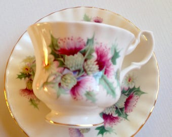 Vintage Royal Albert Bone China Thistle Cup and Saucer