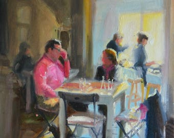 Original Oil Painting, Interior art of FOUR AND TWENTY, painting of restaurant interior
