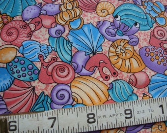 UNDER THE SEA by Fabric Visions 2 yards  Sea Shells  Sea Creatures  Bright Pastels Cotton