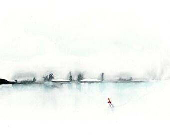 Winter Art Print, Ice Skating Art, Minimalist Art Print, Ice Skater Art,  Winter Landscape, Landscape Painting, clouds, sky