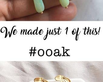 Gold Leaf Earrings, Mint Opal Glass, Prom, Dangle Earrings, Modern Jewelry, Feminine, Chic Floral Earrings, Gift for Her, Sterling Post
