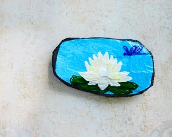 Lotus Magnet, Handpainted Lotus Flower, Dragonfly, Lily Pond, Decorative Slate, Fridge Magnet, Office Magnet, Lotus Decor, Yoga Decor
