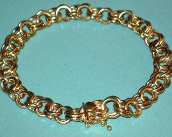 Vintage 14K Yellow Gold HEART Clasp Double Link Chain Charm BRACELET 25g