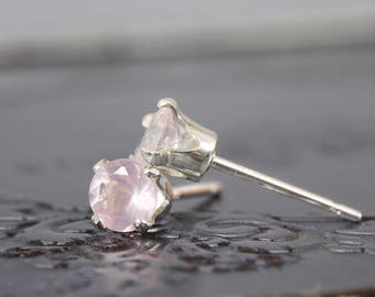Rose Quartz Wedding Earrings - Dainty Earrings - Rose Quartz Stud Earrings - Pink Wedding Earrings - Dainty Wedding Earrings