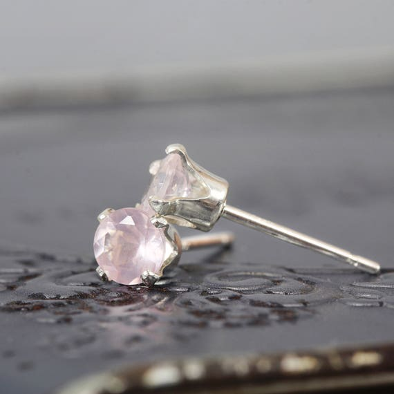 Rose Quartz Wedding Earrings - Dainty Wedding Earrings