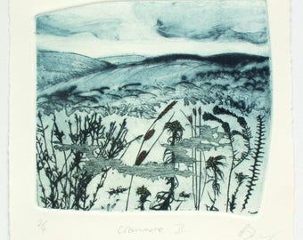 Dartmoor landscape near Okehampton,  Devon.  Drypoint and photo etching. Eco system,