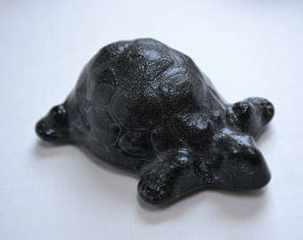 Turtle All the Way Fused Glass Paperweight