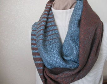 Hand-Woven Rayon Infinity Scarf Blue/Brown