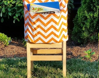 Chair Pockets //Seat Sacks // Teacher Classroom Organization <<16 inch VALUE>> Tangerine Chevron End of Year SALE CoffeeKidsNDolls