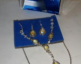 Vintage Avon Necklace Earring Set Y Yellow Rhinestone Silver Toned Metal