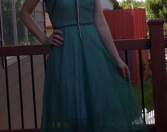 "teal green SWISS DOT DRESS late 40's early 50's 27"" waist S"