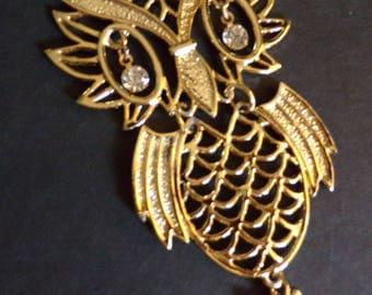 1970's HUGE OWL PENDANT segmented shiny gold 70's (C5)