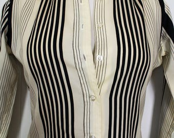 Vintage Striped Blouse - Vertical Striped Top - 90's Clothing - Black and White -  Pinstripe - Office Wear - Long Sleeve - RD#2 - Small