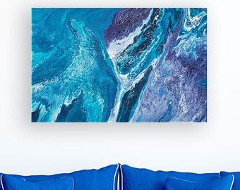 The Deep Blue Abstract Expressionist Fluid Painting on Canvas - Navy Blue, Purple, Turquoise, and White Abstract Painting by Louise Mead