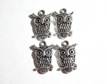 23X15mm Antique Silver Owl Charm Pendants, 4 PC (INDOC27)