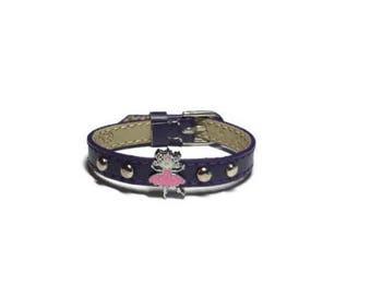 Little Girl's Ballerina Bracelet - Child's  Charm Bracelet - Children Slide Charm Leather Buckle Bracelet - Little Girl's Buckle Bracelet