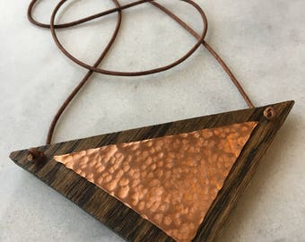 Oak and copper geometric necklace