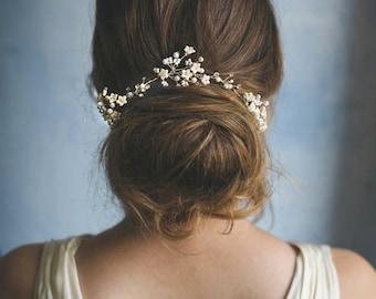 Pearl hair vine - wedding headpiece - bride hair crown - floral hair accessories - bridal head wrap - delicate hair piece - romantic (#349)