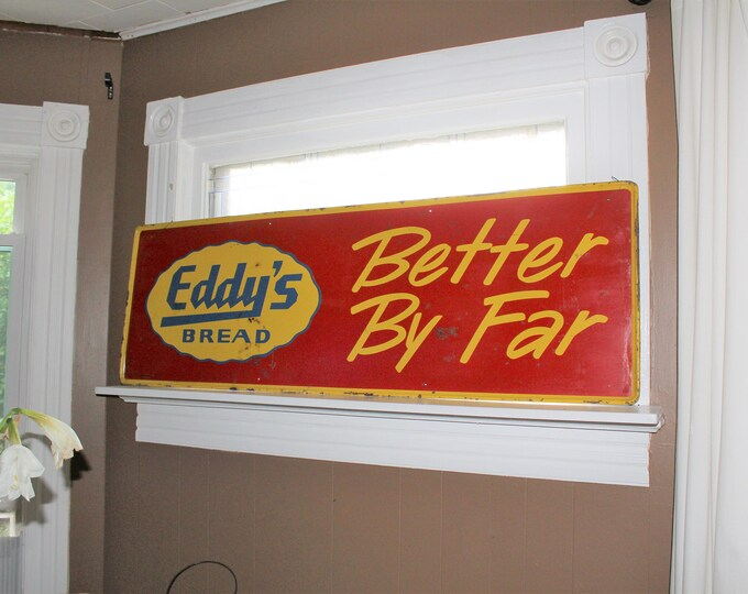 Large Vintage Tin Sign Eddy's Bread Red and Yellow Store Display