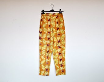 Vintage Esprit High Waist Yellow Floral Cotton Tapered Pants