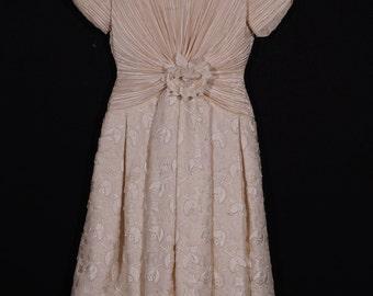 "Vintage triple tier applique alternative wedding or cocktail dress ala ""1950s"", George F. Couture"