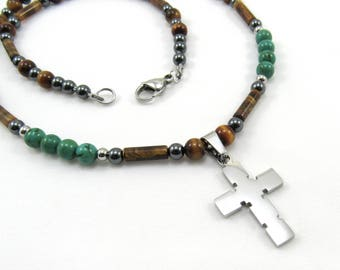 Mens Jewelry, Cross Pendant, Gemstone Necklace, Beaded Necklace, Tigereye, Turquoise