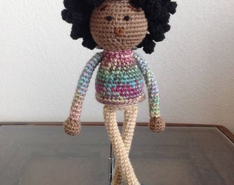 Crochet African American Doll with Afro, boy or girl androgynous androgyne pastel rainbow colors, natural black hair Baby Gift MADE TO ORDER