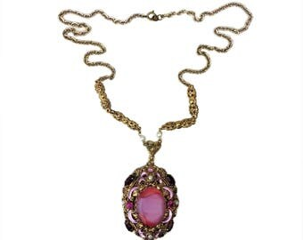 Vintage West German Pink Givré Glass, Red Rhinestone, Pearl, & Pink Satin Enamel Filigree Pendant Necklace Signed Made in Western Germany
