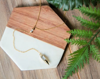 Dainty gold CZ gem Y lariat necklace | Gold plated layering cubic zirconia spike necklace | Gifts for her under 30 | Mother's Day |