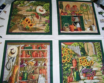 CRAFT PANEL Gardening Blocks Tools Sunflowers Country Pillow Tote Quilt Sew Craft Astro Textile
