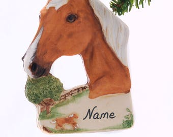 Palomino Horse Resin Christmas Ornament Hand Made in the USA Personalized With Your Choice of Name and or Year Gift Box Included (476)