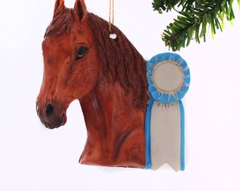 Personalized Christmas Ornament Sorrel Horse with Blue Ribbon - personalized free with your name and or year - handmade in the USA  (451)