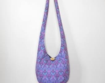 Hobo Bag Boho Bag Crossbody Bag Sling Bag Hippie Purse Bohemian Purse Slouch Purse Geometric Hippie Bag Hobo Purse Handmade Bag Fabric Purse