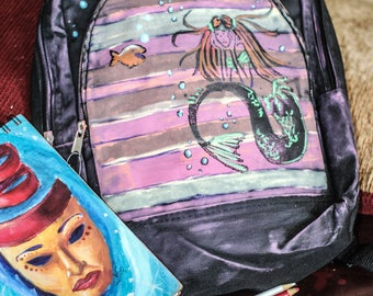 Fun Roughed-Up, Grungy Girl's Mermaid Backpack or Backpack Purse