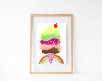 Ice Cream Art. Food Art. Girls Room Wall Art. Foodie Gift. Playroom Decor. Summer Art. Dessert Painting. Ice Cream Cone Art. Gifts for Kids.